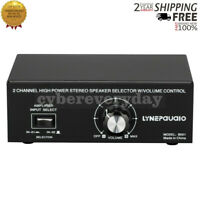 2 In 1 Out Amplifier Selector 2 Channel Stereo Speaker Selector w/Volume Control
