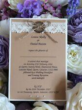 5 x handmade C6 WEDDING INVITI VINTAGE SHABBY RUSTICO pulsante
