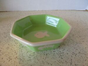 STONEWARE CAT BOWL BY PET RAGEOUS DESIGNS, GREEN & WHITE, FISH DESIGNS, 6 SIDED