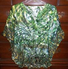 Chico's Bayberry Blue Tropical Burnout Semi-sheer Nela Top Size 0 (4, XS) NWT