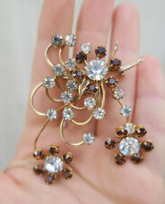 VINTAGE PIN BROOCH COSTUME JEWELRY RHINESTONE branches Topaz clear glass flowers