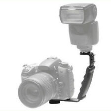 L-Shape Bracket Holder For Flash Light Camera Mini DV Camcorder + 2 Hot Shoe BLK