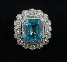 3.1 Ct Vintage Aquamarine Emerald Cut Engagement Ring In 925 Sterling Silver