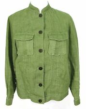 Amber Sun Linen Jacket Sz S Sage Green Button Front Mandarin Collar Small
