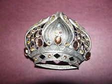 New Belt Buckle Princess Crown Amber Color Rhinestones Bling