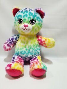 "Build A Bear Rainbow Leopard Lisa Frank Inspired 17""  Plush BAB Workshop"