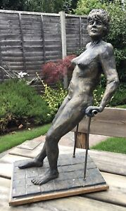 Large Studio Pottery & Plaster Sculpture Of A Reclining Nude Marked RSM 18 Jenny
