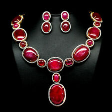 """NATURAL PINK RUBY & WHITE CAMBODIA ZIRCON SET EARRINGS-NECKLACE 21"""" 925 SILVER"""