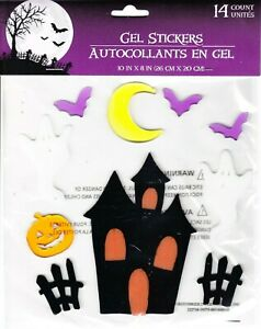Halloween Gel Window Cling Stickers 14 Count ~  Haunted House Ghosts Bats