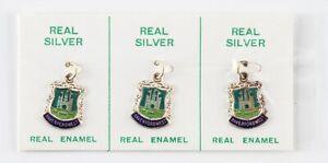vintage pack of 3 silver & enamel Haverfordwest town crest charm - ex shop stock