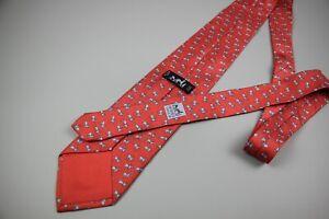 HERMES Coral Tie Hermes Silk Vintage Horse Print PRE- OWNED
