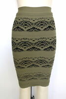 New Free People Intimately Womens Lined Straight Pencil Skirt Army Green M/L $48