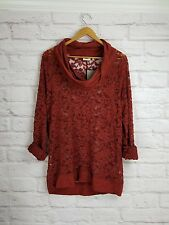 Lilka Anthropologie Lace Cowlneck Pullover Top L Large NWT