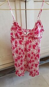 Victoria's Secret 100% Silk Pink Heart Short Slip Lingerie Cami Top Sleepwear L