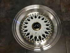 17x8.5 17x10 JNC004S RS SLANT LIP Wheels 4x100 4x114.3 White Polished Lip GR
