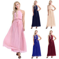 Women's Halter Evening Formal Party Long Maxi Prom Bridesmaid Wedding Dress