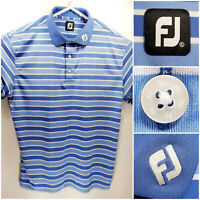 FootJoy FJ Mens XL Golf Shirt Polo Blue White Striped Polyester