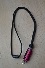 Paracord Neck Lanyard/ Keyring for ID/ Keys, Map & Compass (PINK)