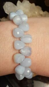 Blue Lace Agate Faceted Gemstones Stretchy Beaded Bracelet Size Small