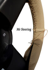 FOR LEA FRANCIS 14HP BEIGE PERFORATED NEW LEATHER STEERING WHEEL COVER 1946-1953
