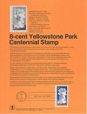 #7201 8c Yellowstone Park Stamp #1453 Souvenir Page w/o Watermark Rare