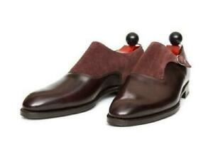 Men's Handmade Shoes Maroon Monk Suede Leather Two Tone Tuxedo Formal Wear Boots