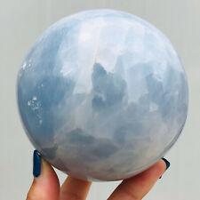 2.6LB Natural Blue Celestite Quartz Crystal Fossil Ball Stone Specimen Healing
