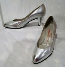 Fabulous Vintage Silver Leather Charles Jourdan Pumps, Extraordinary! 6B