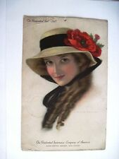 """1917 """"Prudential Advertising Calendar w/ Gorgeous Woman by C. Warde Traver*"""