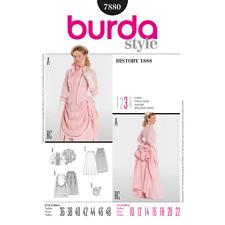 Burda 7880 Sewing Pattern Victorian Costume Jacket Overskirt Bustle 10-22 Patron