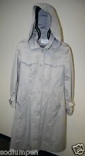 Vintage Women's Jacket 7/8 Gray Long Trench Coat Hood & Winter Zip In Liner Rare