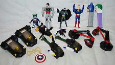 LOT OF BATMAN SUPERMAN CATWOMAN JOKER ACTION FIGURES, HELICOPTERS, PEZ TOYS
