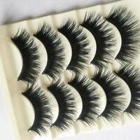 Blue+Black Long Thick Cross False Eyelashes Handmade eye lashes 5 Pairs/SET