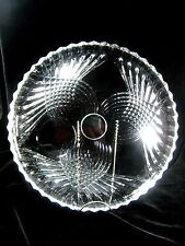 Crystal Glass Round Chip and Dip Plate Vertical Cut Glass Clear Unknown Maker