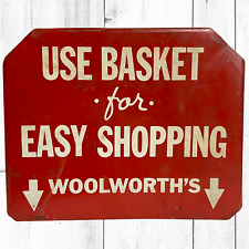 Woolworth's Drug Store Metal 2-Sided Sign 5 & 10 Pharmacy Soda Fountain Shoppe