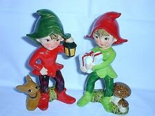 Elf Pixie Figurines # 5215 - Holiday - Red & Green - Vintage Set of 2, Exc.