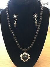 Beautiful Black Coloured Faux Pearl Necklace & Earring Set With A Heart Pendant