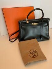 Hermes 35cm Black Box Calf Retourne Kelly Bag with dust bag and original box