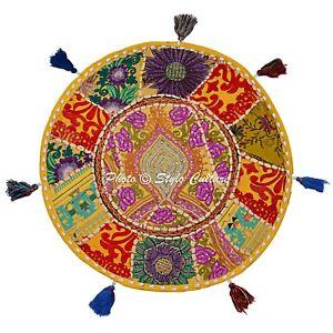 Vintage Kantha Patchwork Floor Cushion Cover Indian Decorative Ottoman Pouffe