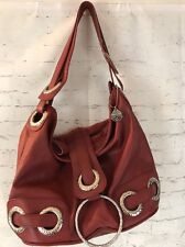 Big Buddha Hobo Purse Handbag Berry Red Chunky Silver Rings Shoulder Strap