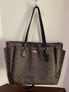 Coach Signature Diaper Bag/Baby Bag/Tote In Brown/Black