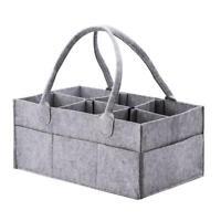 Grey Felt Baby Diaper Caddy Nursery Storage Wipes Bags Nappy Organizer Contai #s
