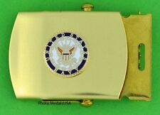 Navy Web Belt & buckle - brass buckle & khaki tan web belt - USN