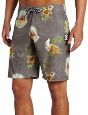 Cool DC Men's Mcgarrett Aloha Print Board Shorts Grey, 36 NWT