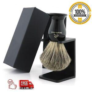 Luxury Black Handle Badger Hair Shaving Brush and Stand / Best Gift for Mens