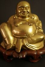 Chinesische Hotei Figur Statue aus Messing mit Holzstander