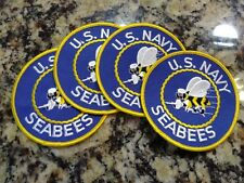 4 - U.S. NAVY SEABEES Patches Can Iron On Or Stitched