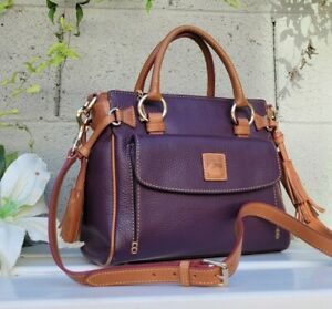 DOONEY & BOURKE FRONT POCKET purple plum PEBBLED LEATHER  SATCHEL purse handbag