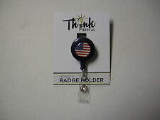 "ID Holder, USA Flag, By Becker Brands Int., Retractable  Reel, 1.25"", Brand New"