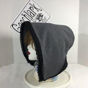 Victorian bonnet hat gray black bucket Civil War reenactment  6191